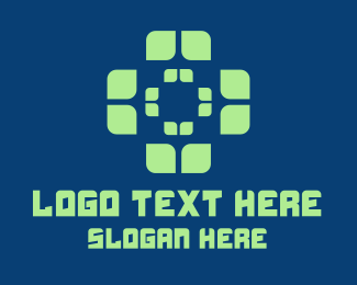 Online Consultation - Green Digital Cross  logo design