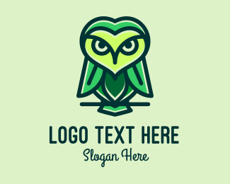 Nocturnal Animal - Green Leaf Owl  logo design