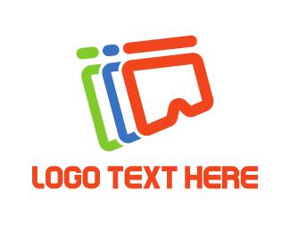Vr - Colorful VR Outline logo design