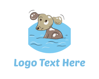 Illustration - Bathing Dog Cartoon logo design
