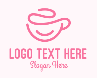 Coffeehouse - Pink Coffee Cup Monoline logo design