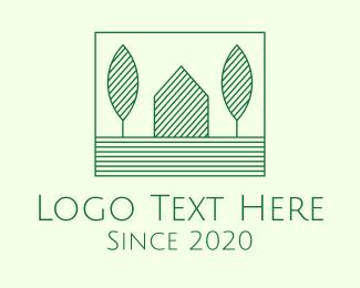 Organic Farm - Green Rural Home logo design