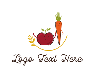 Food Production - Apple & Carrot  logo design