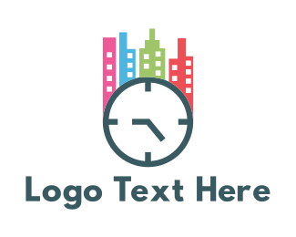 Hour - City Clock logo design