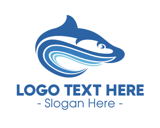 Surfing - Blue Wave Fish  logo design