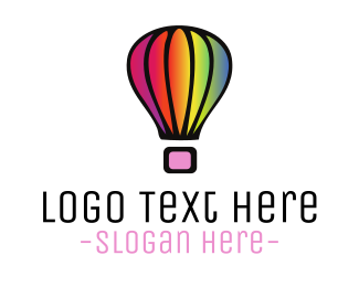 Hot Air Balloon - Rainbow Balloon logo design