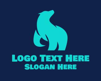 Polar - Cyan Polar Bear logo design