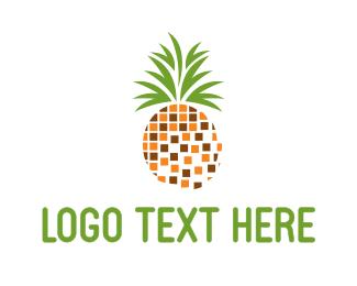 Fresh Fruit - Pineapple Pixels logo design