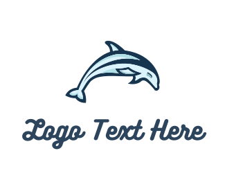 Maritime - Dolphin Jumping logo design