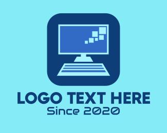 Monitor - Blue Desktop Computer logo design