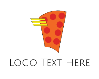 Winged - Flying Pizza logo design