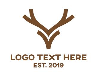 Camping - Minimalist Reindeer  logo design