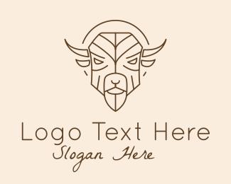 Matador - Brown Bison Outline logo design