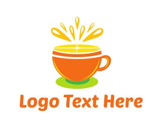 Teacup - Orange Tea Cup logo design