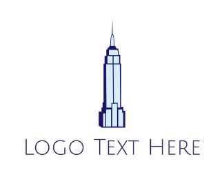 Ny - Blue Empire State logo design