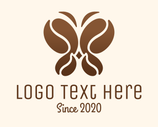 Moth - Coffee Bean Butterfly logo design