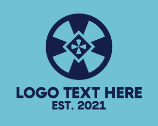 Warning - Blue Wheel Shield logo design