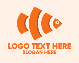 Data Provider - Orange Wifi Fish logo design