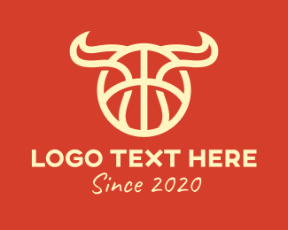 Bison - Bull Horns Basketball logo design