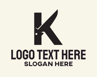 Utensils - Black Knife Letter K logo design