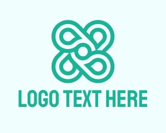 Four Leaf Clover - Mint Flower logo design