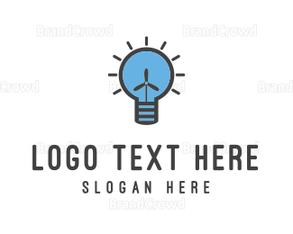 Bulb - Wind Energy logo design