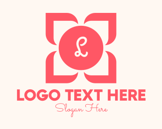 Botique - Pink Flower Lettermark logo design