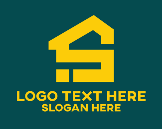 Yellow House - House Letter S logo design