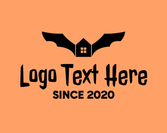 Bat - Bat Halloween House  logo design