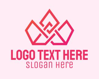 Pageant - Pink Geometric Tiara logo design