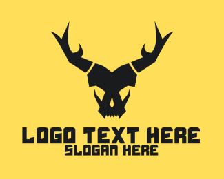 Beast - Horned Animal Beast Skull  logo design