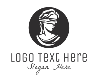 Hand Drawn - Blindfolded Woman logo design