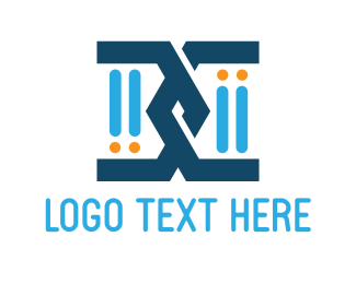 Genetic - Blue Chromosome logo design