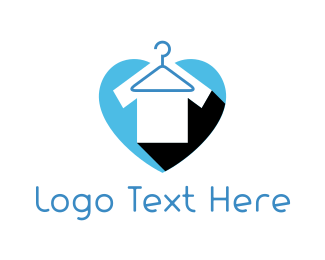 Blue Heart - Tshirt Clothes Hanger logo design