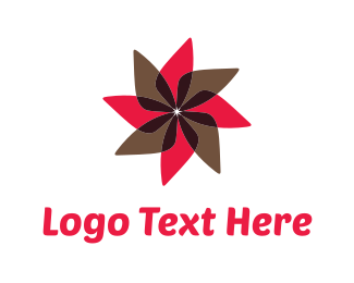 Rotate - Red & Brown Flower logo design