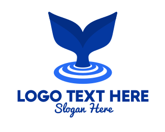 Marine Biology - Blue Whale Tail logo design
