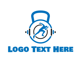 Personal Trainer - Blue Kettlebell logo design