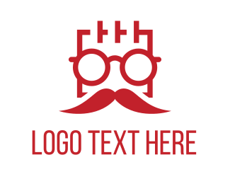 Red Sunglasses - Square Man Moustache logo design