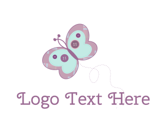 Sew - Cute Butterfly logo design