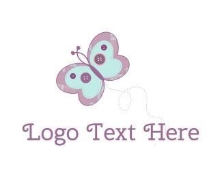 Button - Cute Butterfly logo design