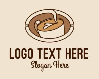 Coffee Machine - Latte Coffee Art  logo design