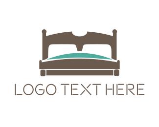 Sleep - Wooden Bed logo design