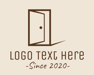 Open - Brown Wood Door logo design