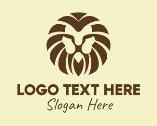 Jungle - Wild Brown Lion logo design