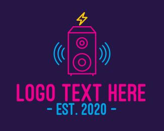 Disco Bar - Neon Loud Sound System logo design
