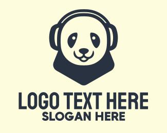 Headset - Black Panda Headphones Mascot logo design