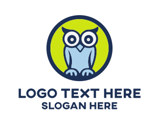 Cute Blue Owl Cartoon Logo