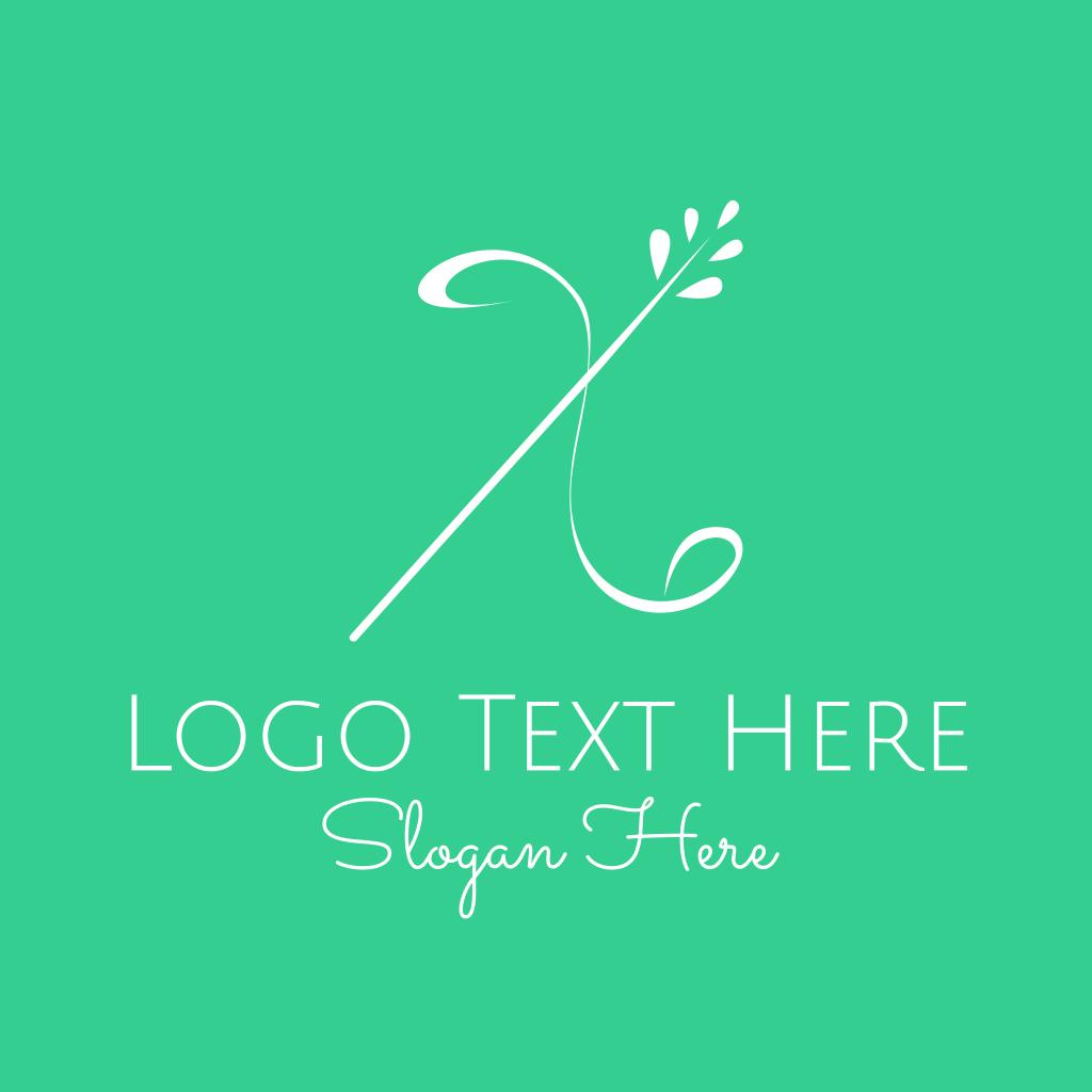 White Floral Letter X Logo