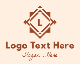 Textile Pattern - Brown Tile Letter logo design