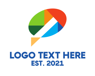 Speech Bubble - Geometric Color Speech Balloon logo design